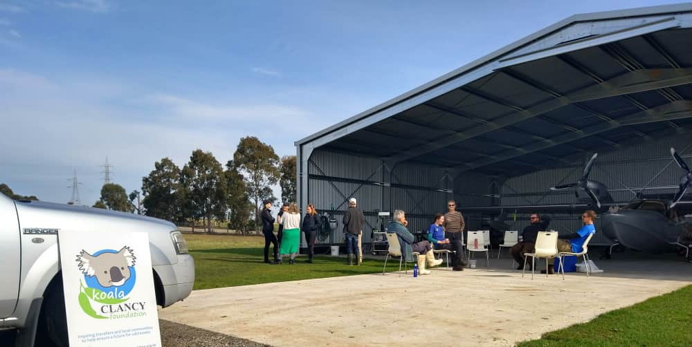 morning tea for tree planters in hangar near You Yangs